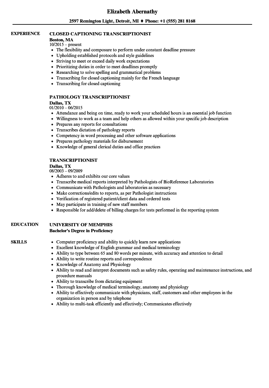Transcriptionist Resume Samples Velvet Jobs