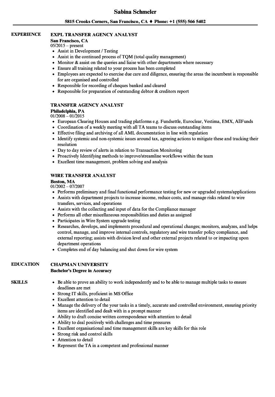 Transfer Analyst Resume Samples | Velvet Jobs