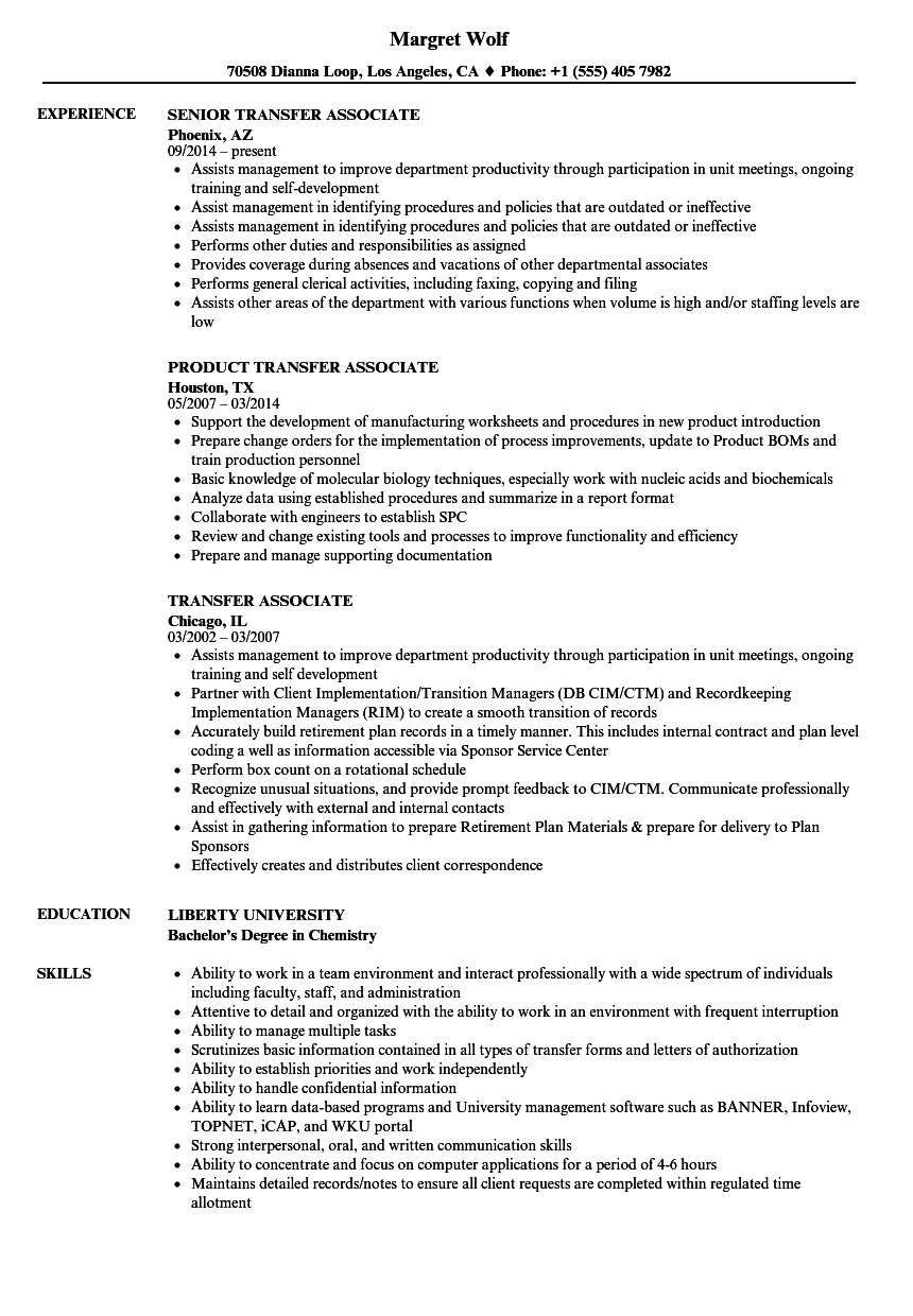 transfer associate resume samples