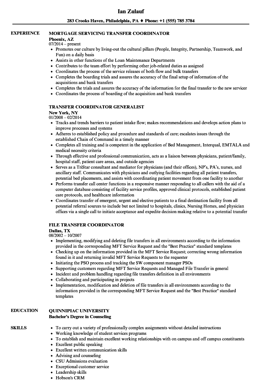 Transfer Coordinator Resume Samples Velvet Jobs