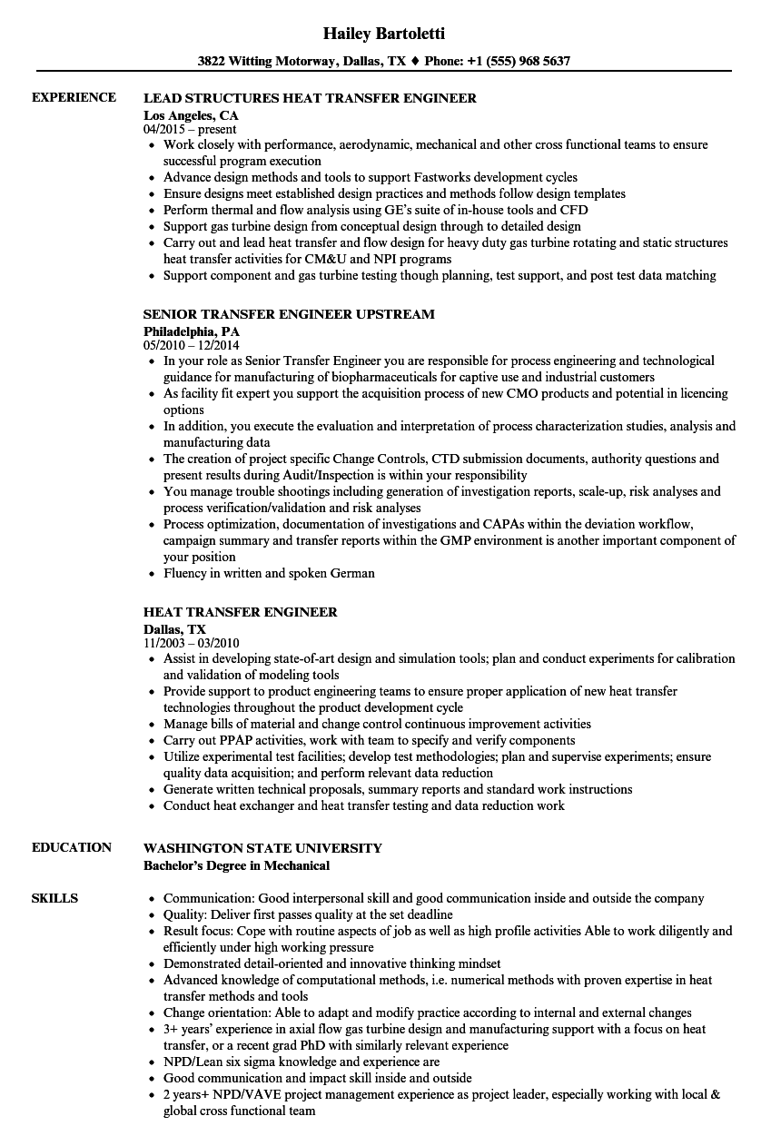 Transfer Engineer Resume Samples Velvet Jobs