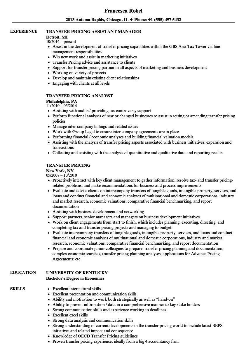 Transfer pricing resume samples velvet jobs for Transfer pricing agreement template