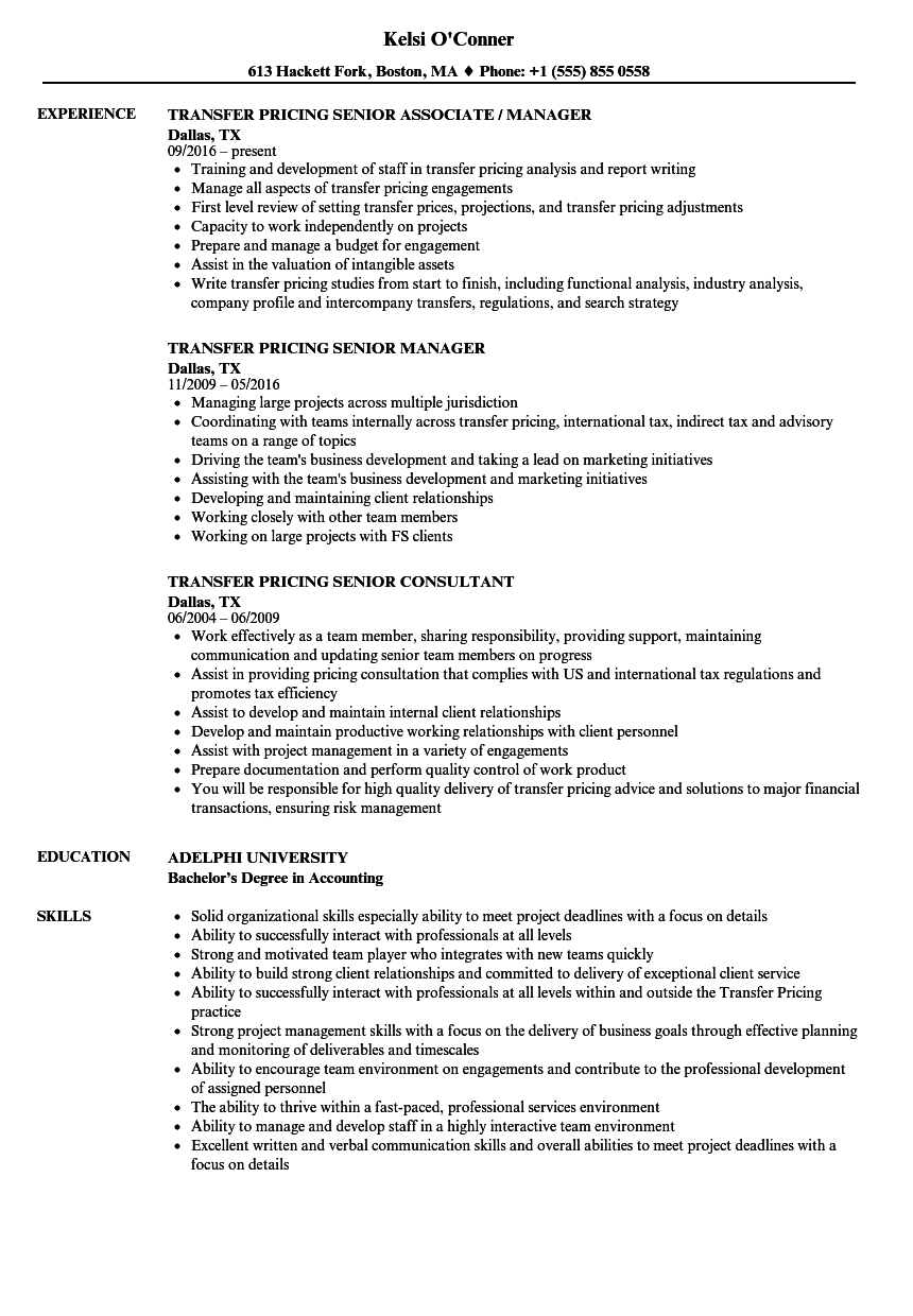 transfer pricing senior resume samples velvet jobs