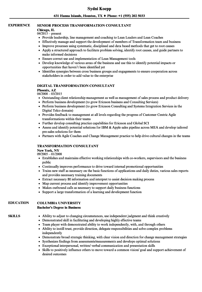Transformation Consultant Resume Samples | Velvet Jobs