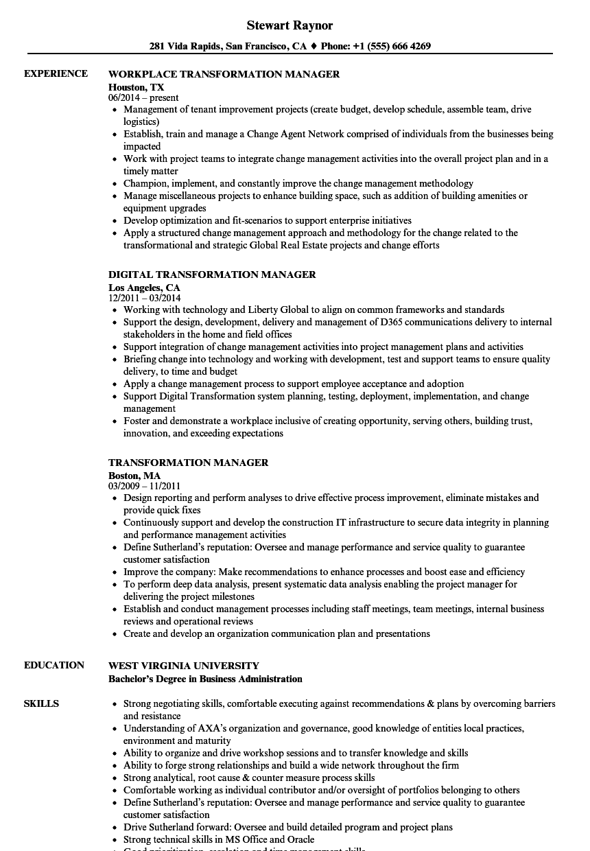 Transformation Manager Resume Samples | Velvet Jobs