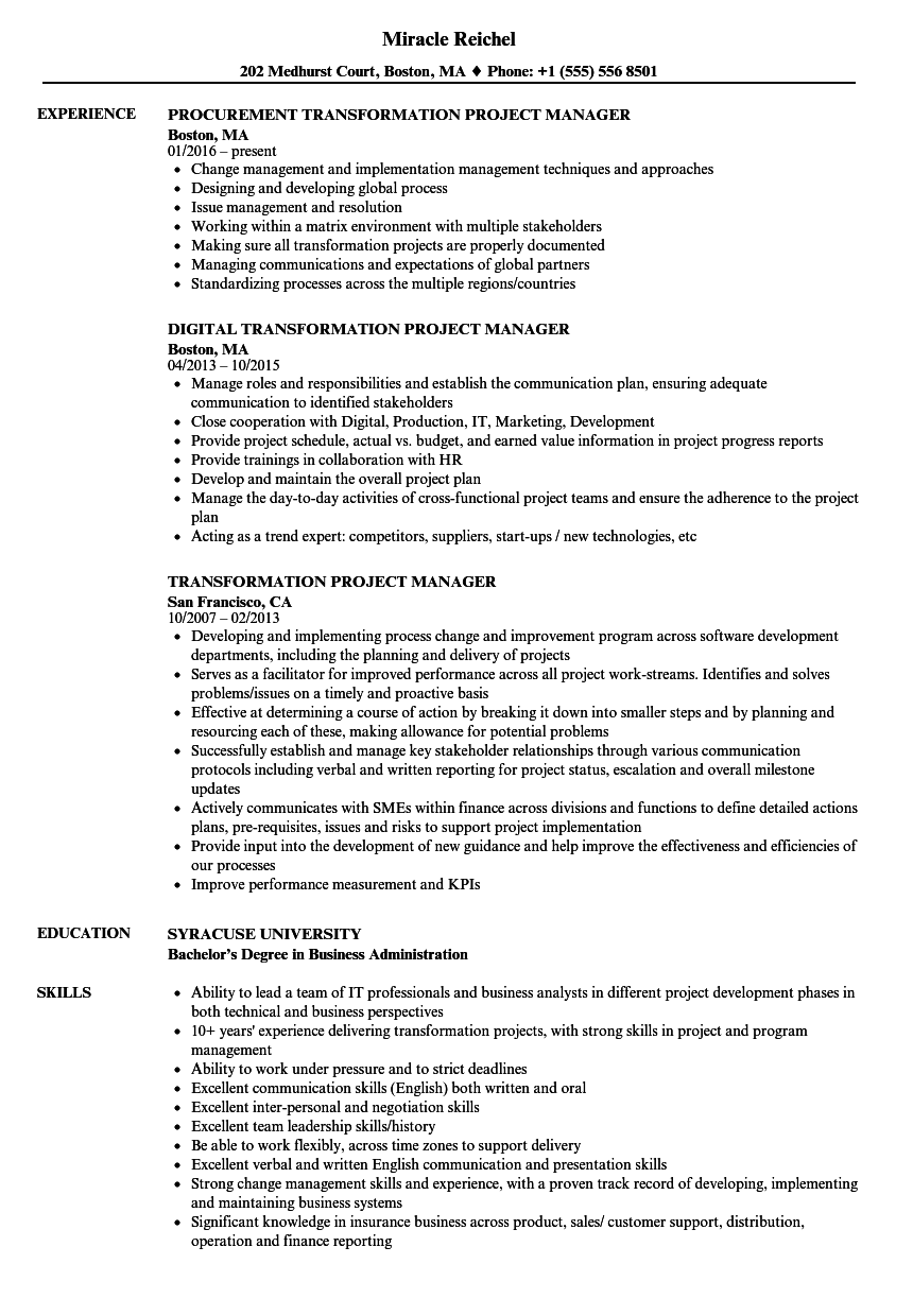 transformation project manager resume samples
