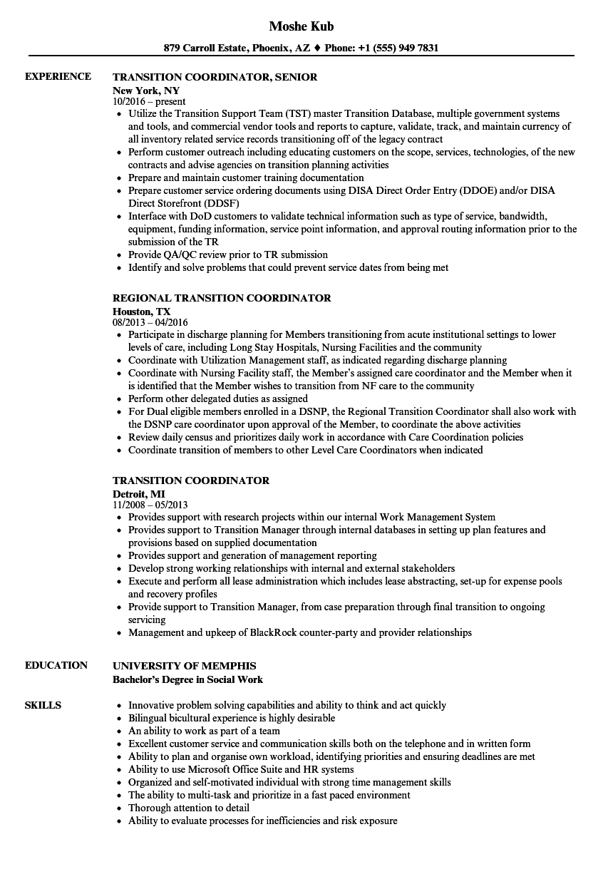 transition coordinator resume samples