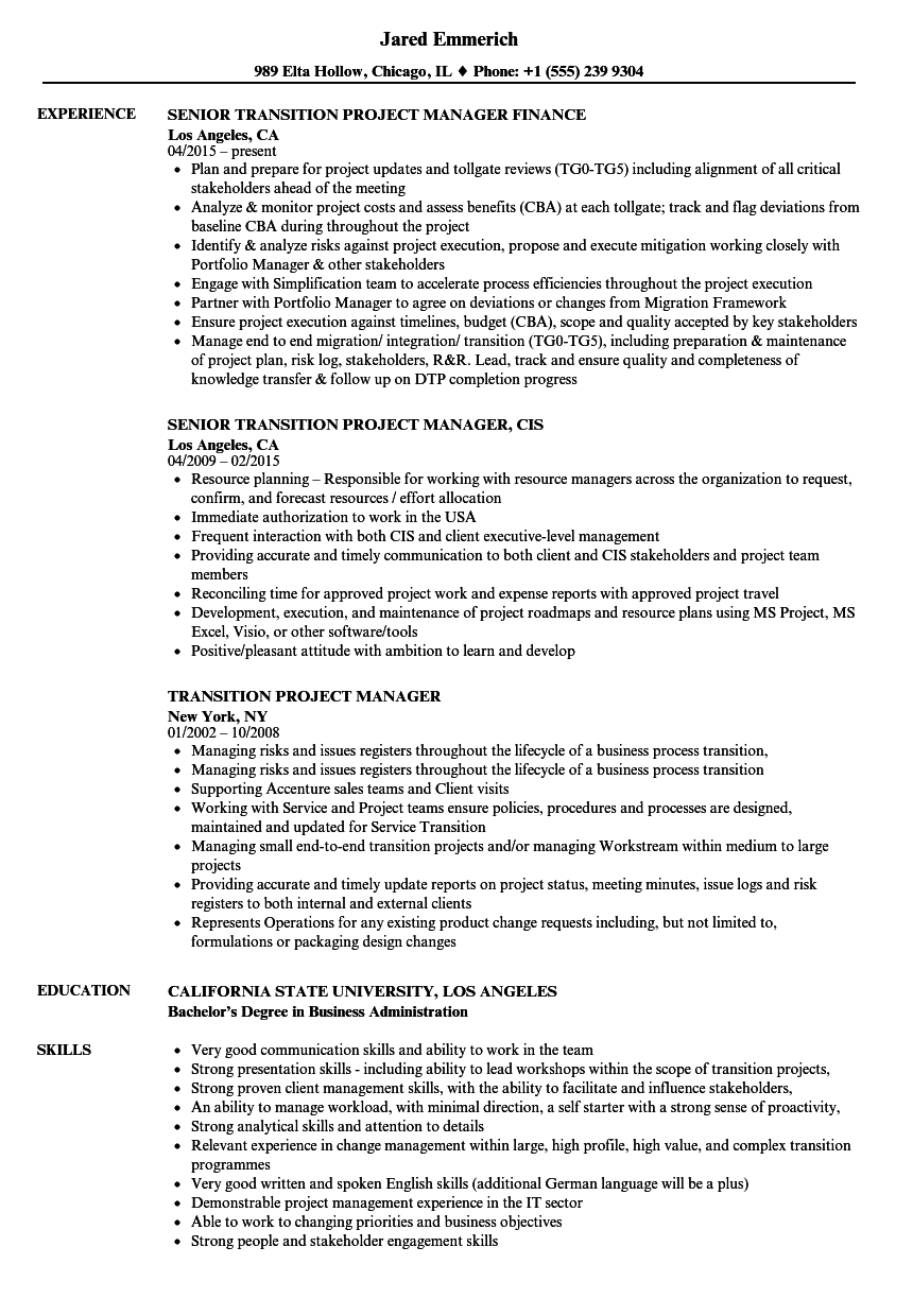 Transition Project Manager Resume Samples Velvet Jobs
