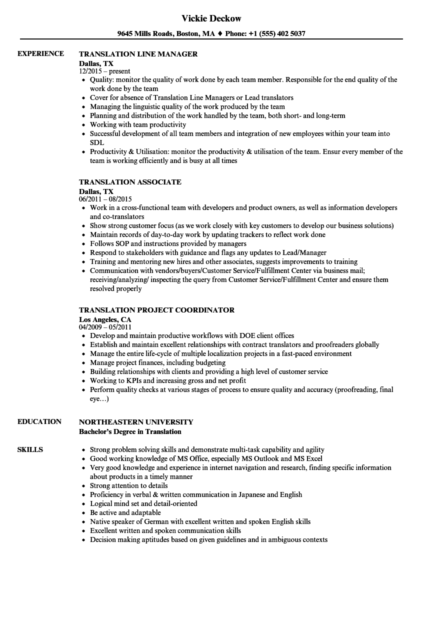 translation resume samples