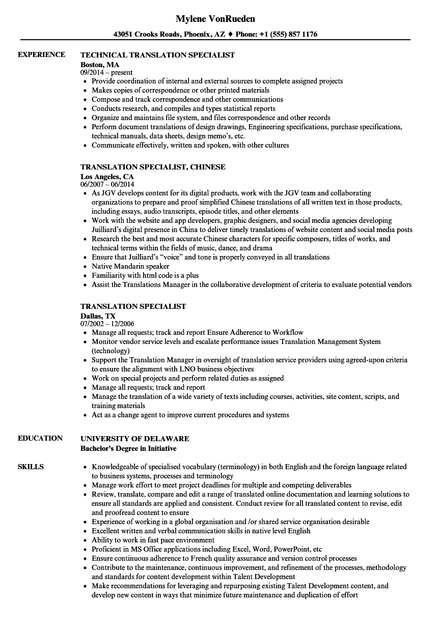 Translation Specialist Resume Samples Velvet Jobs