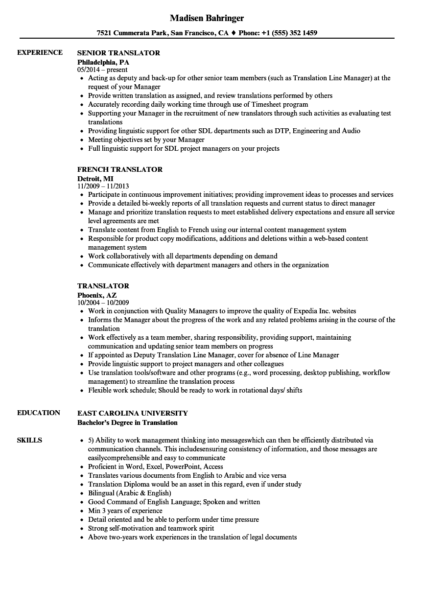 Translator Resume Samples Velvet Jobs