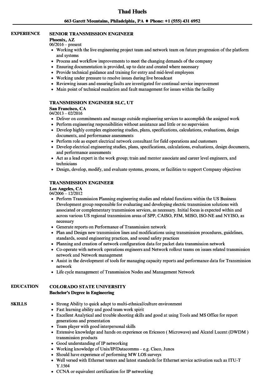 transmission engineer resume samples