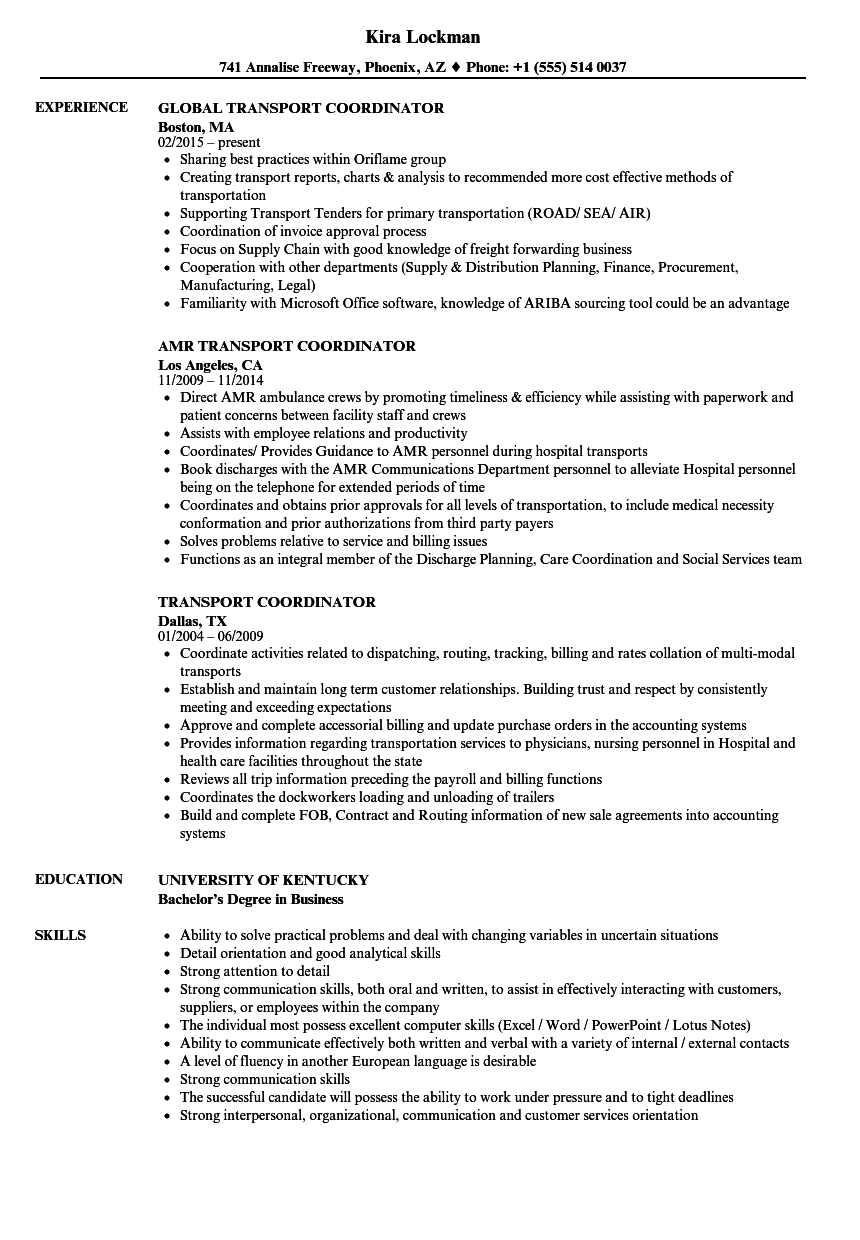 Transport Coordinator Resume Samples Velvet Jobs