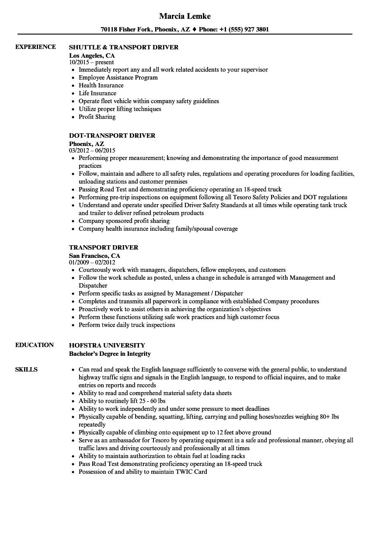 transport driver resume samples
