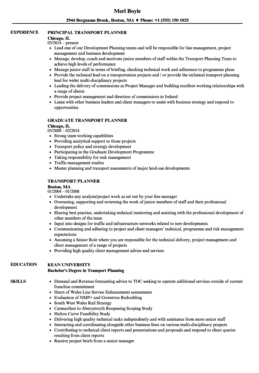 transport planner resume samples