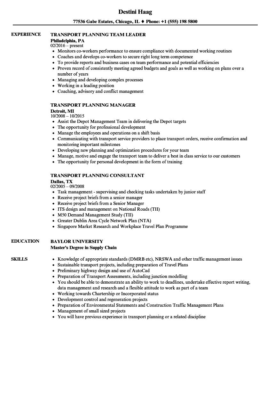 Transport Planning Resume Samples