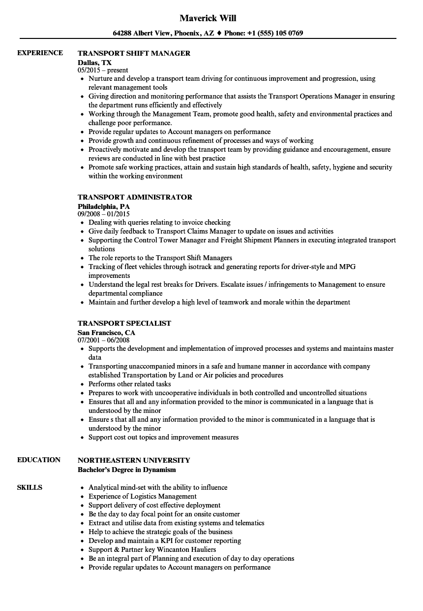 transport resume samples