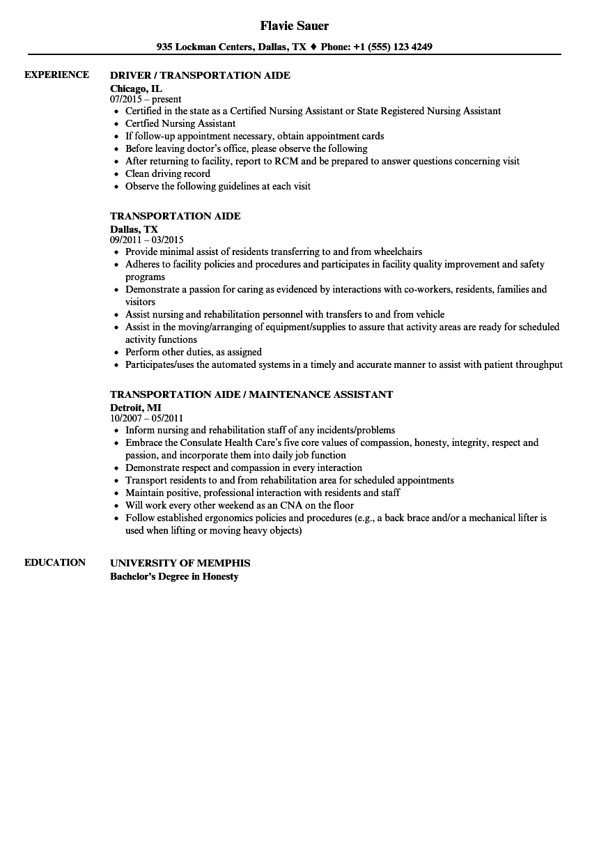 Download Transportation Aide Resume Sample As Image File