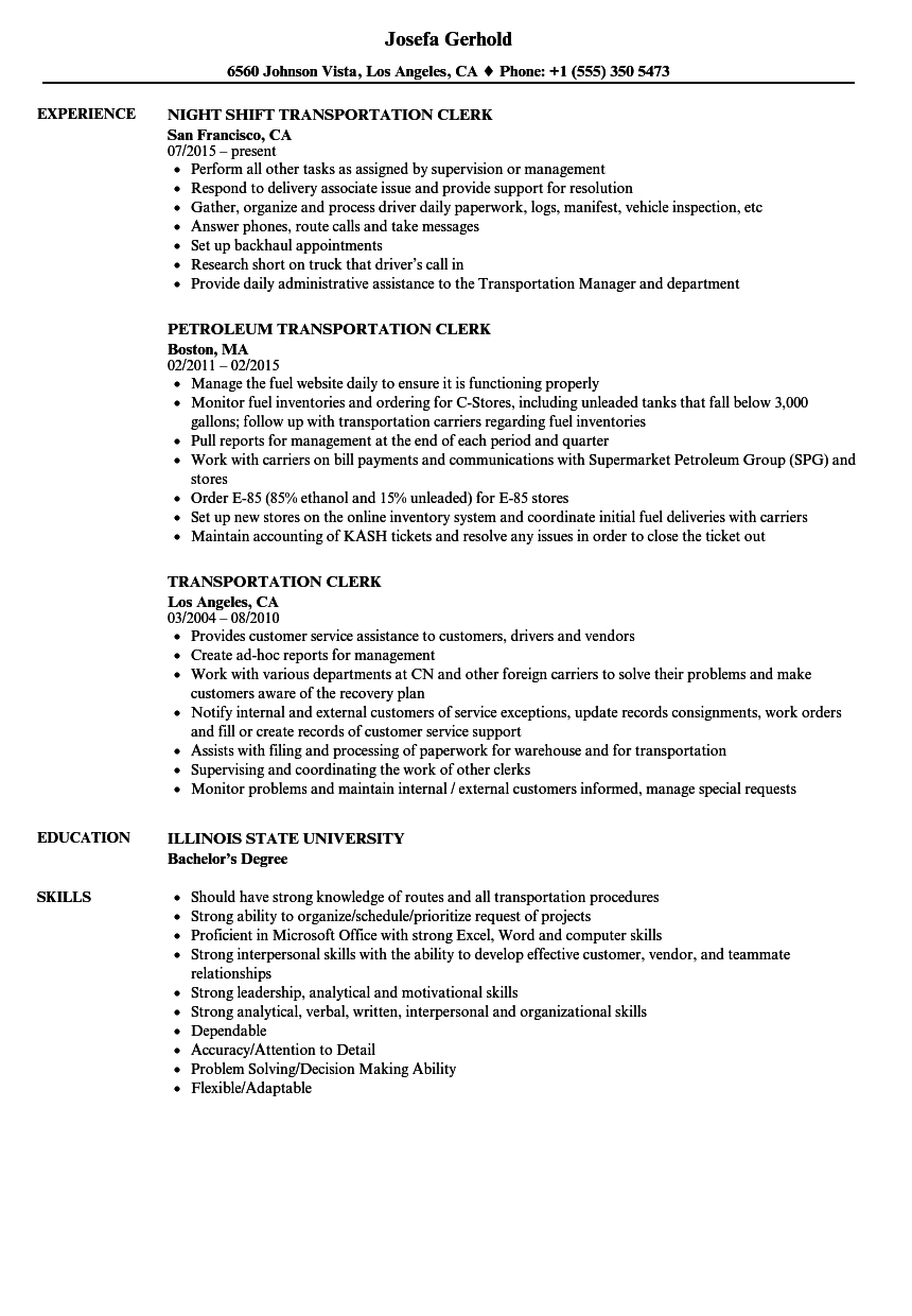 Transportation Clerk Resume Samples Velvet Jobs