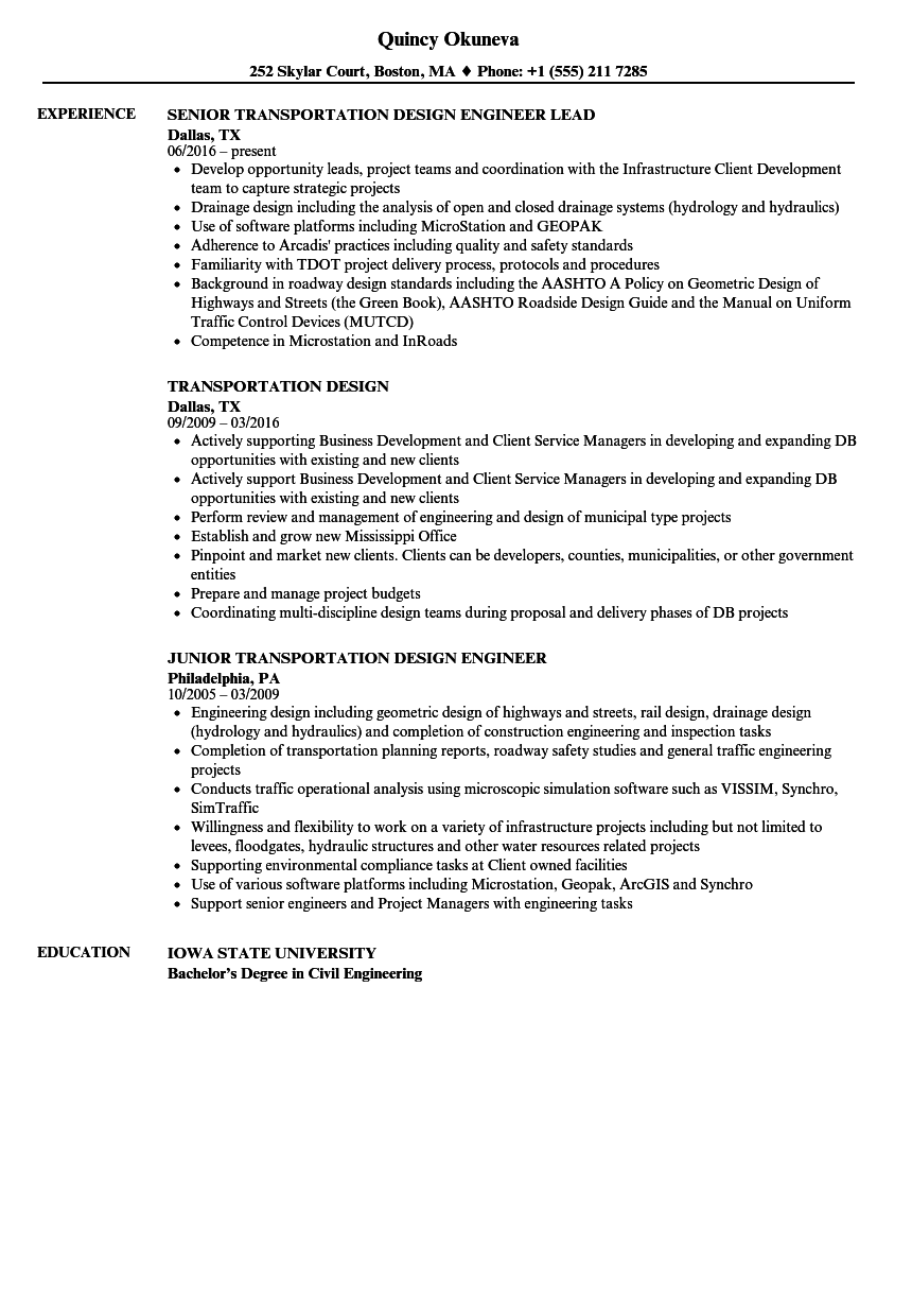 transportation design resume samples