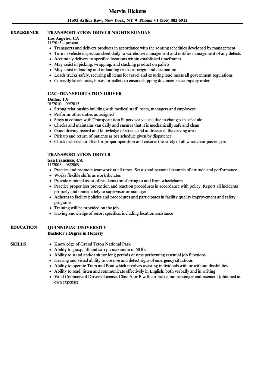 Transportation Driver Resume Samples Velvet Jobs