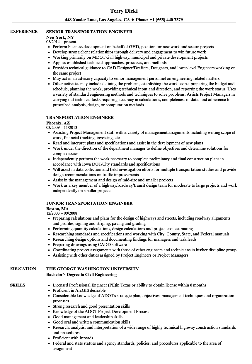 Transportation Engineer Resume Samples | Velvet Jobs