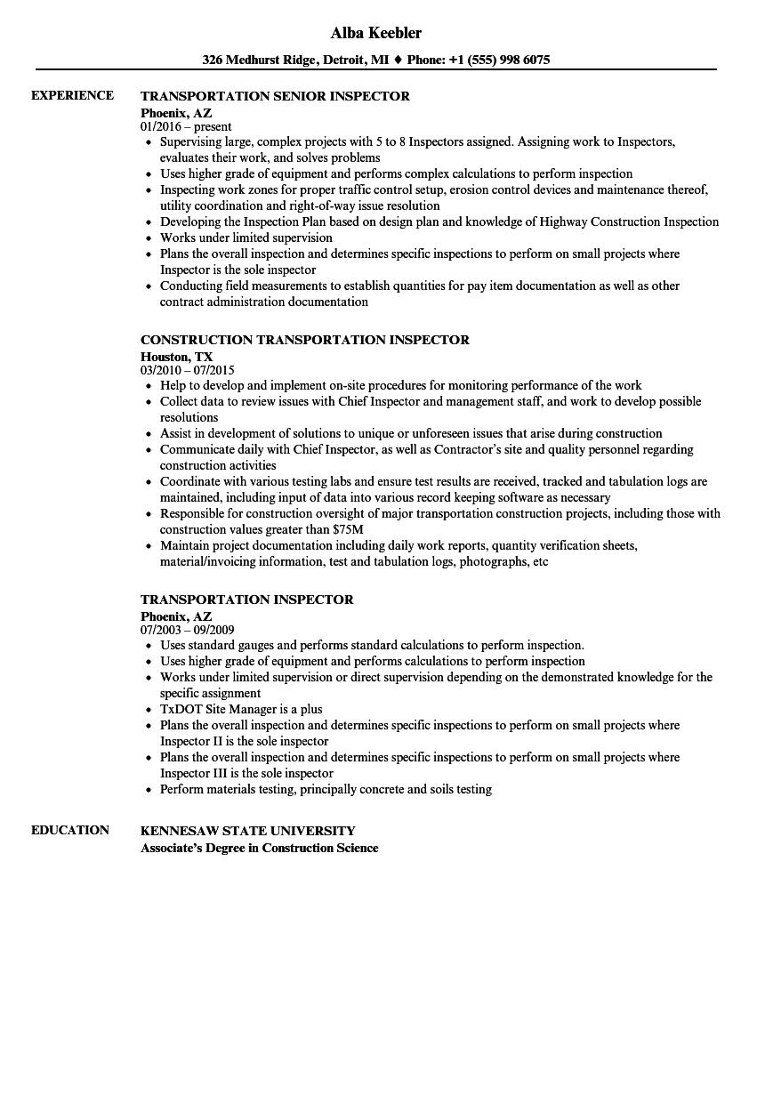 transportation inspector resume samples