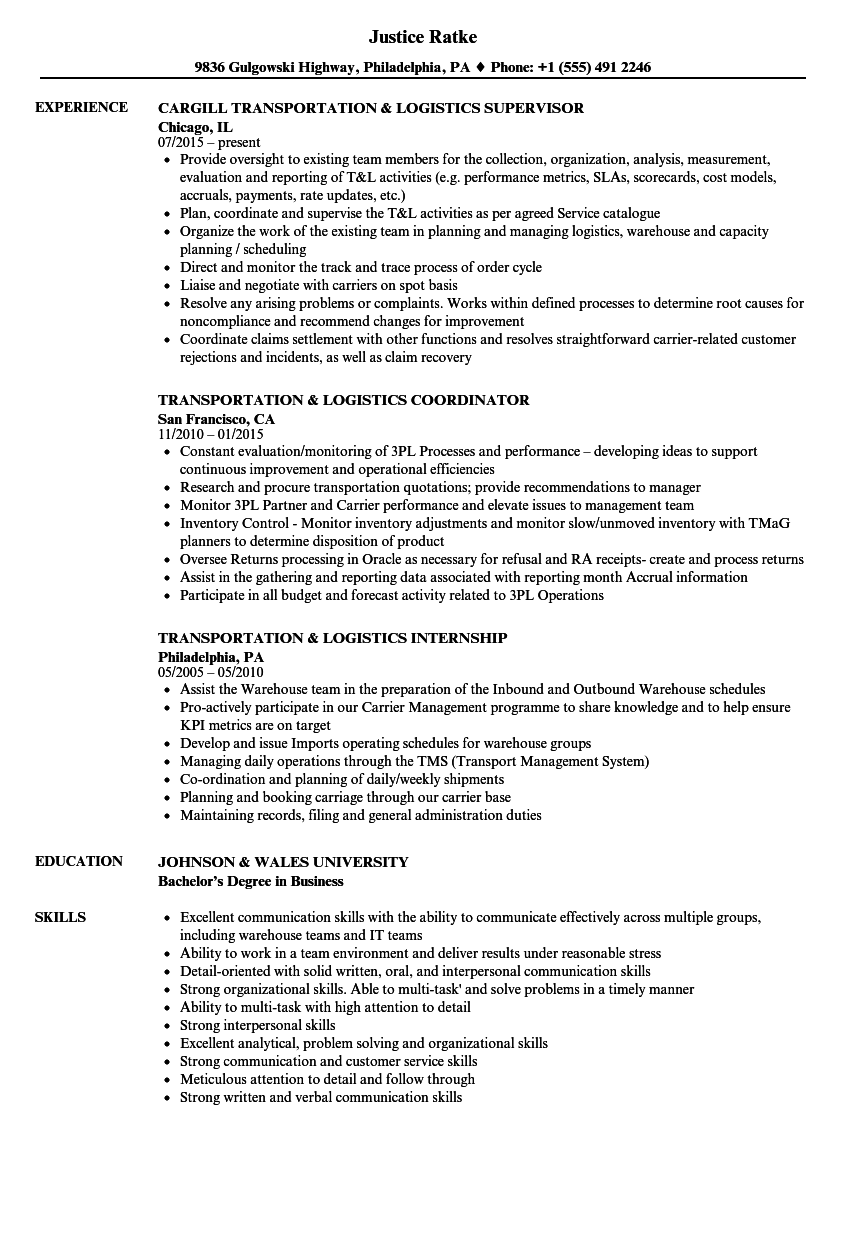 transportation  u0026 logistics resume samples