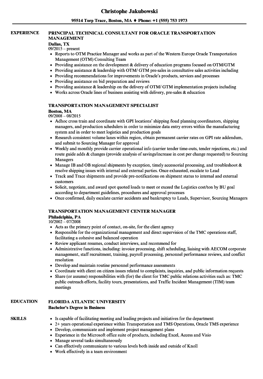 Download Transportation Management Resume Sample As Image File  Transportation Resume