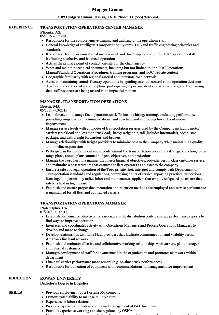 transportation operations manager resume samples