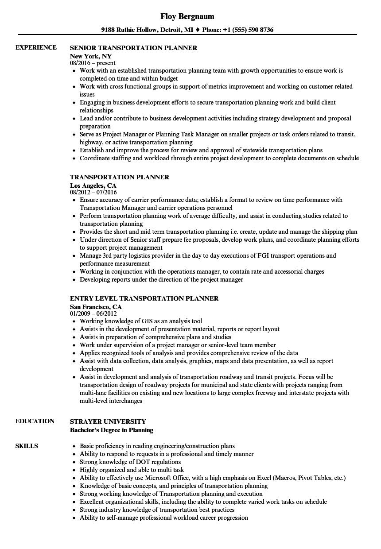 Transportation Resume | Transportation Planner Resume Samples Velvet Jobs