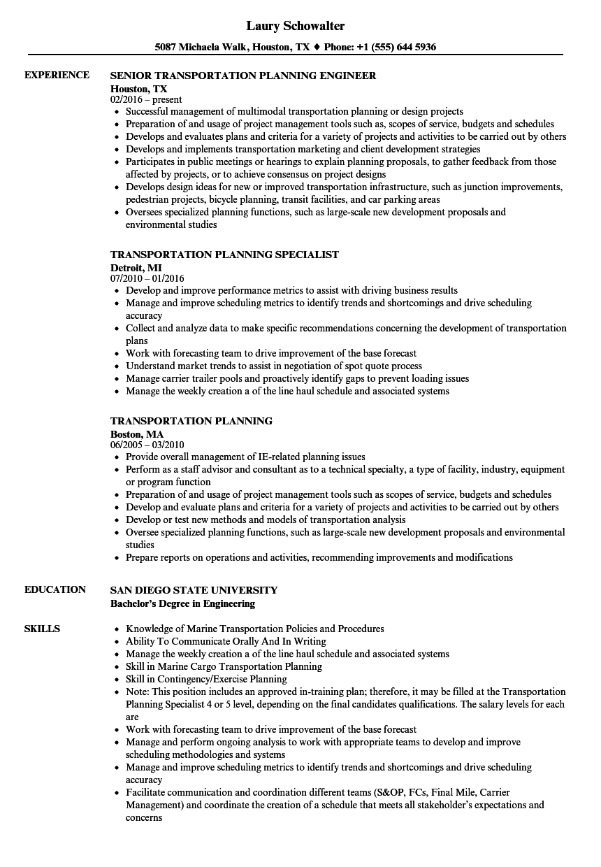 Transportation Planning Resume Samples   Velvet Jobs