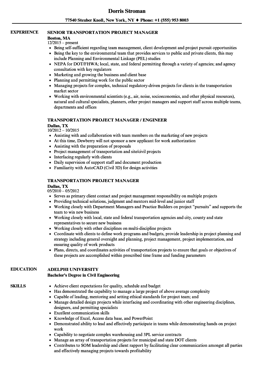 Transportation Project Manager Resume Samples Velvet Jobs