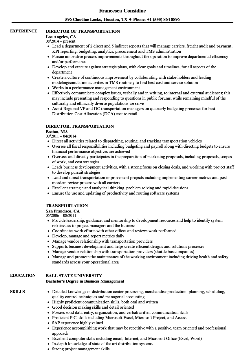 Transportation Resume Samples
