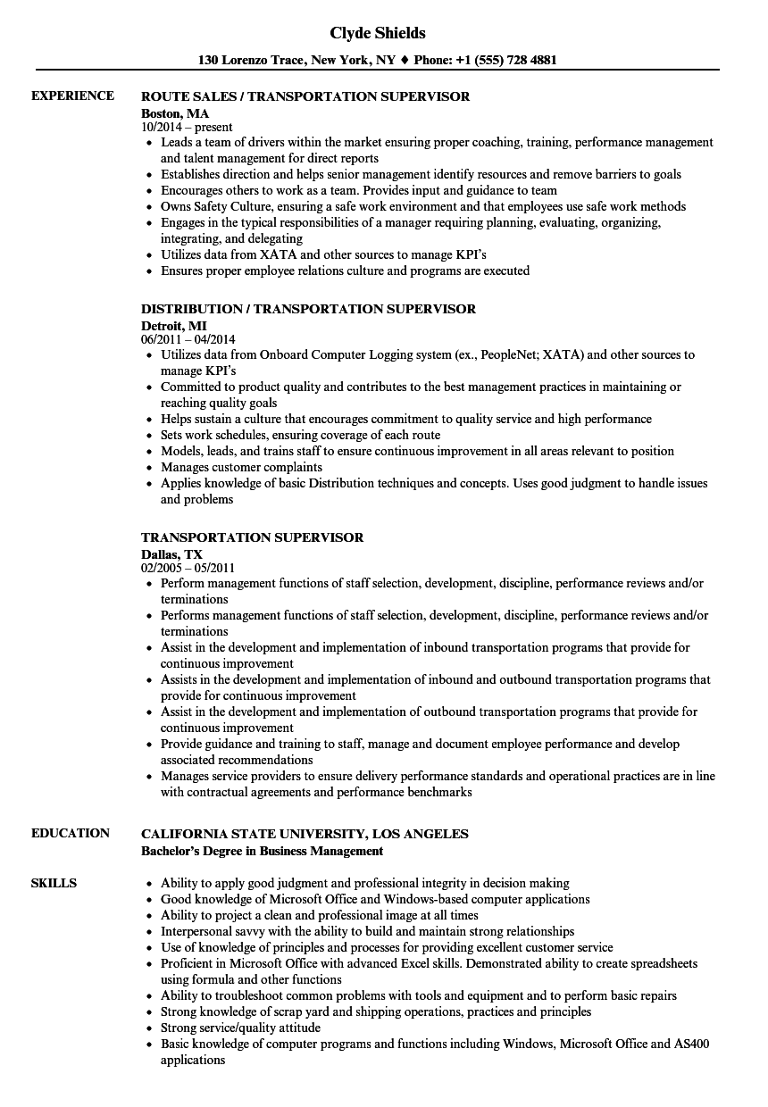 Velvet Jobs  Transportation Resume