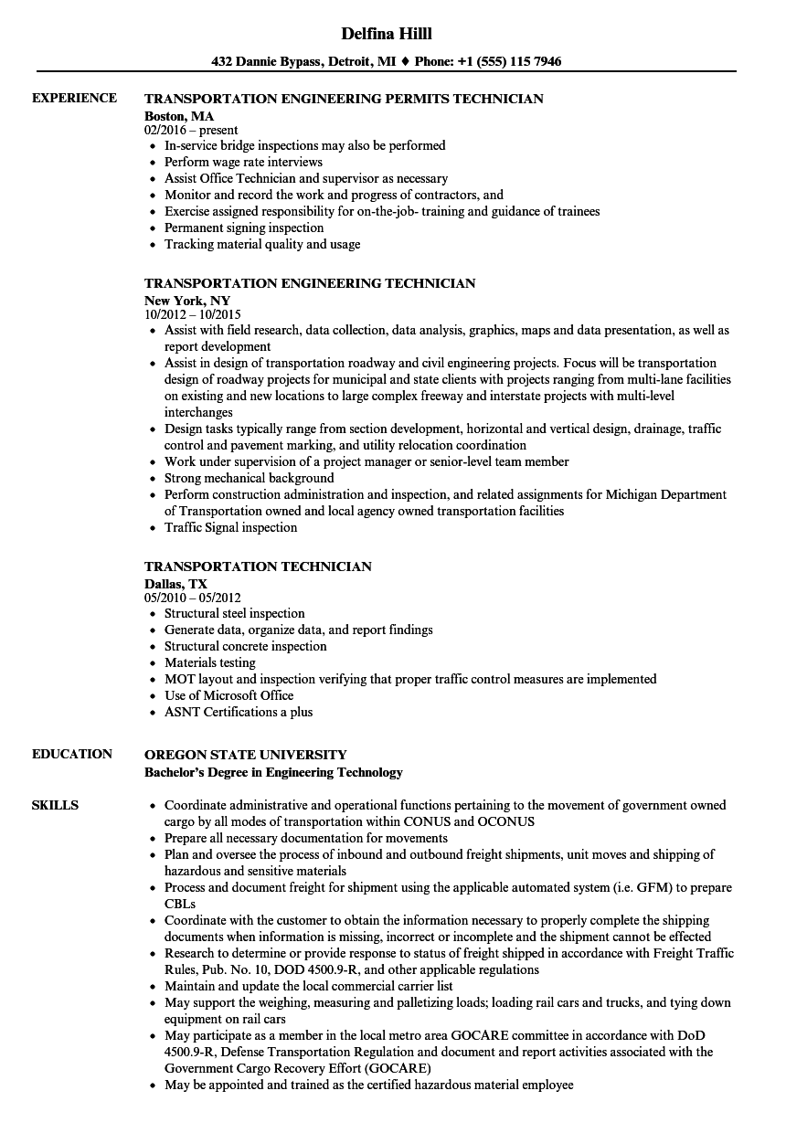 Transportation Technician Resume Samples | Velvet Jobs
