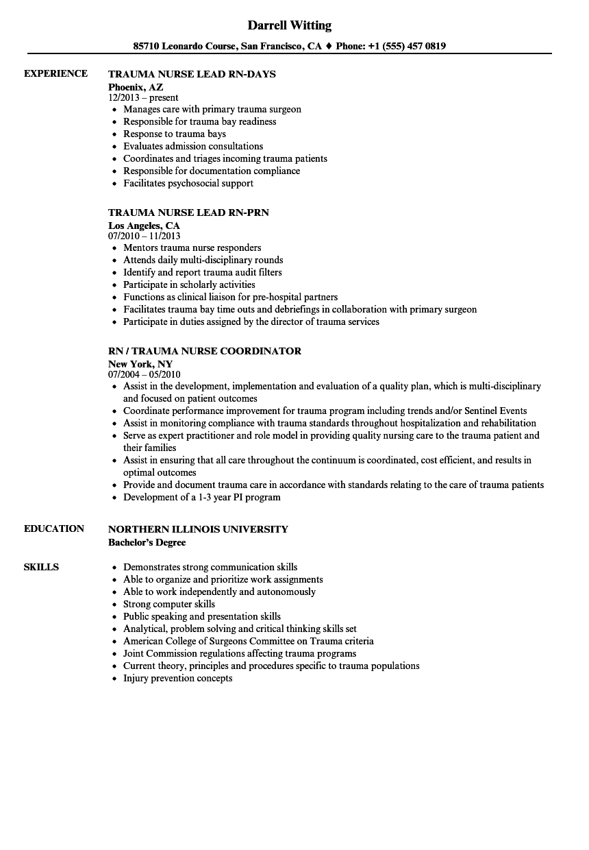 Trauma Nurse Resume Samples | Velvet Jobs