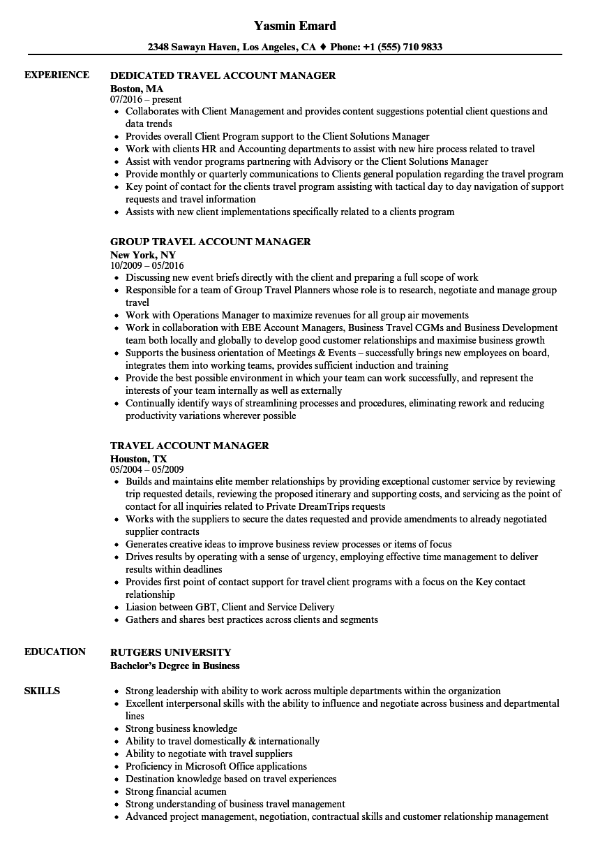 travel account manager resume samples velvet jobs