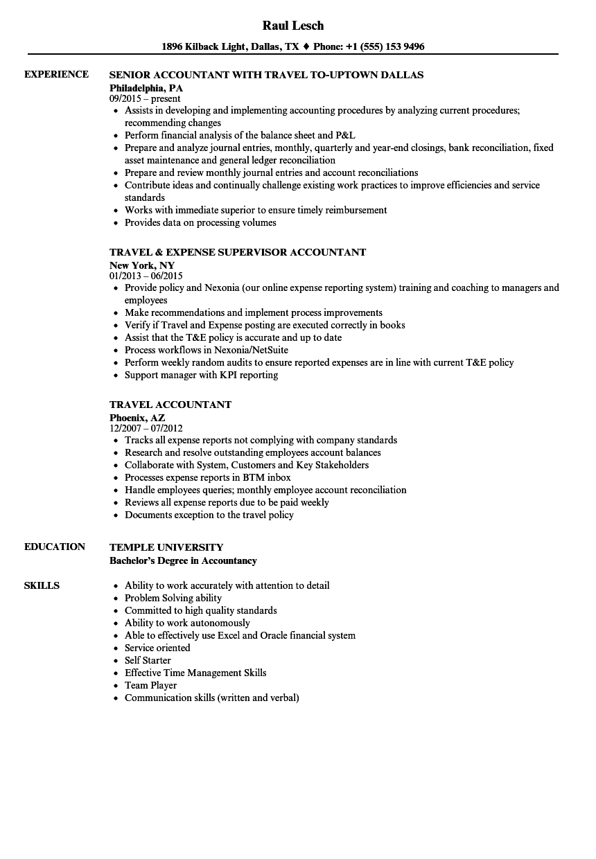 Travel Accountant Resume Samples | Velvet Jobs