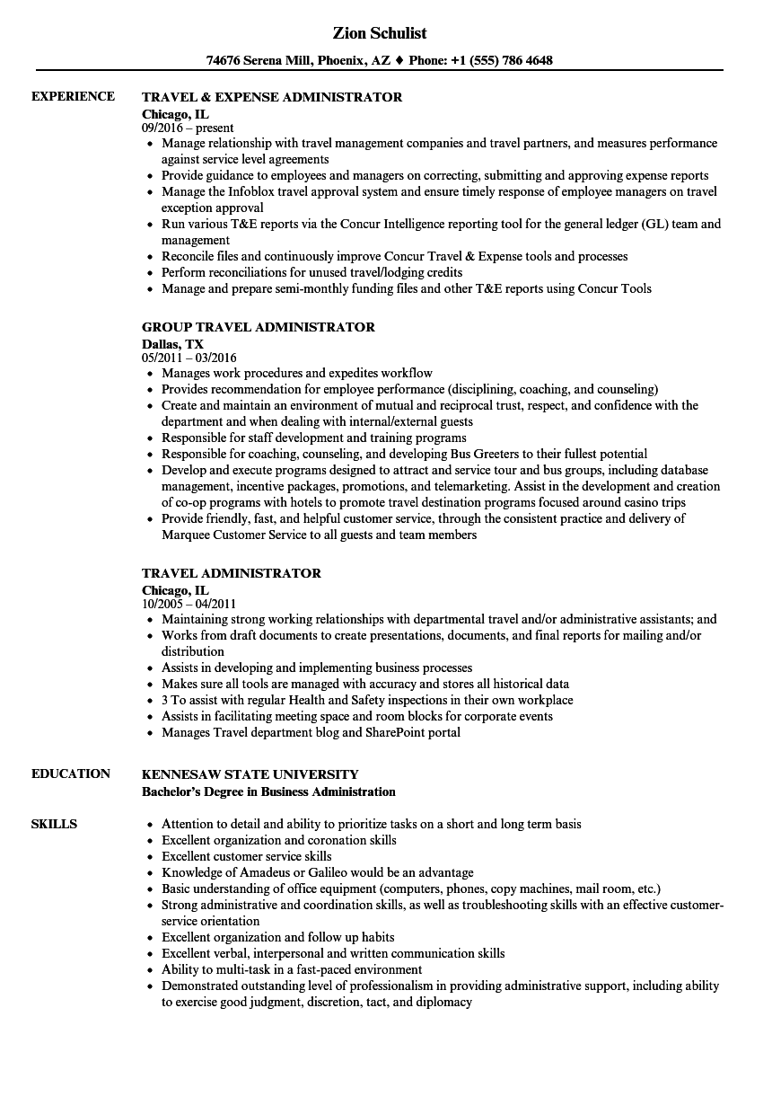 Travel Administrator Resume Samples Velvet Jobs
