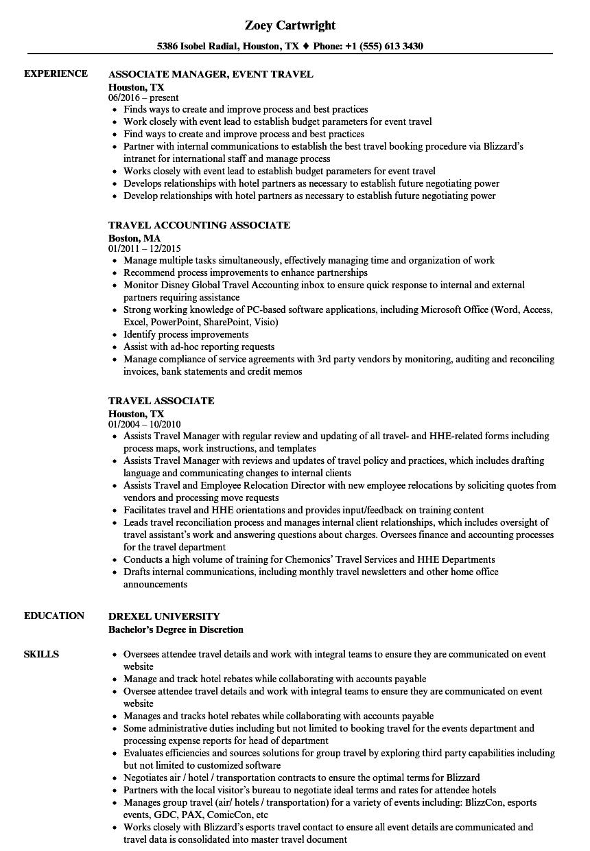 travel associate resume samples