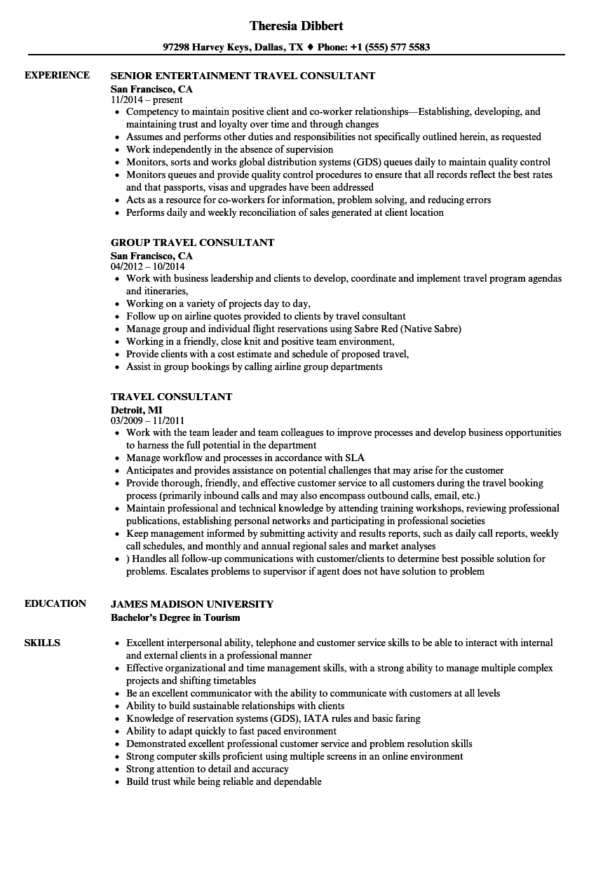 Travel Consultant Resume Samples | Velvet Jobs