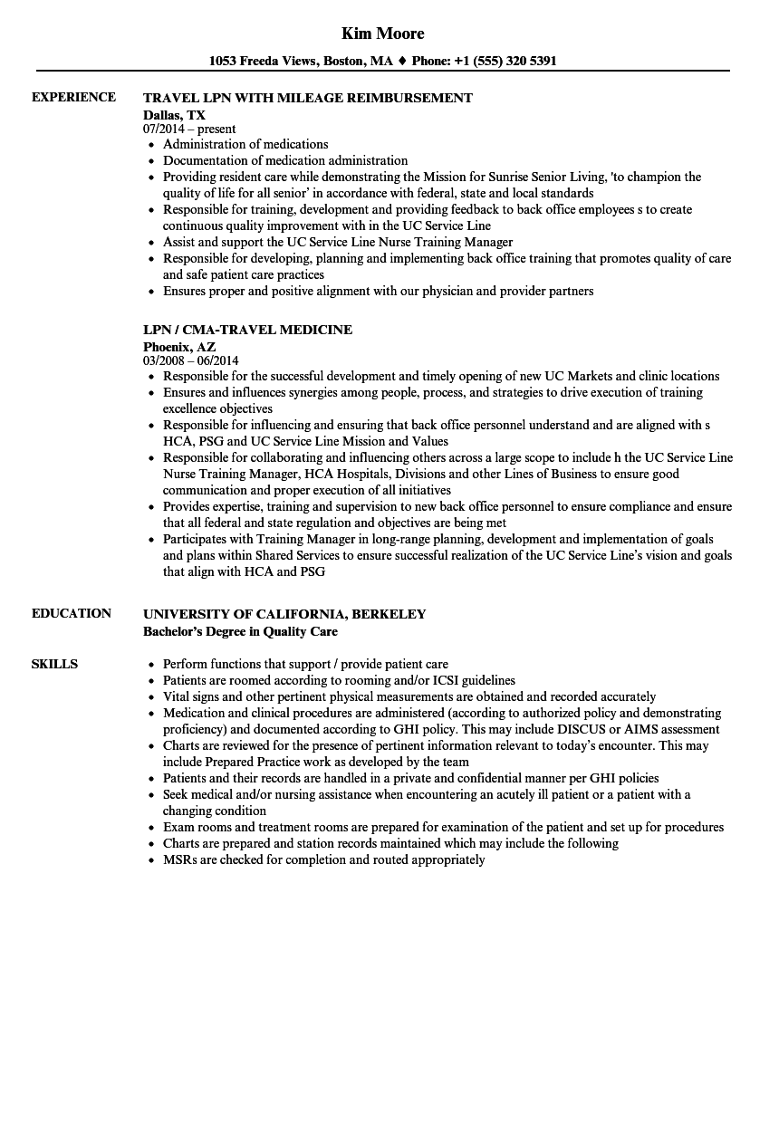 Travel LPN Resume Samples Velvet Jobs