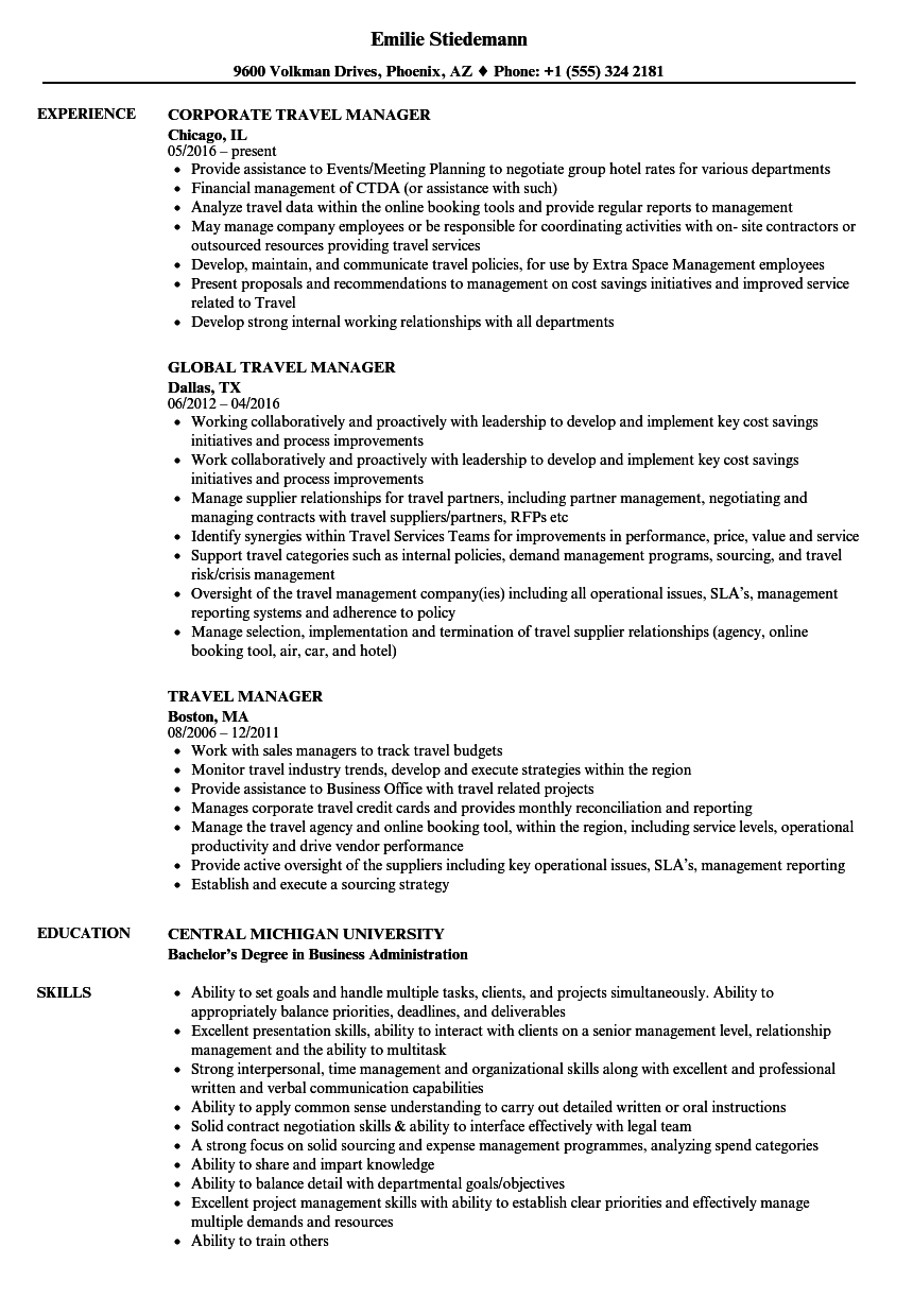 sample travel management resume
