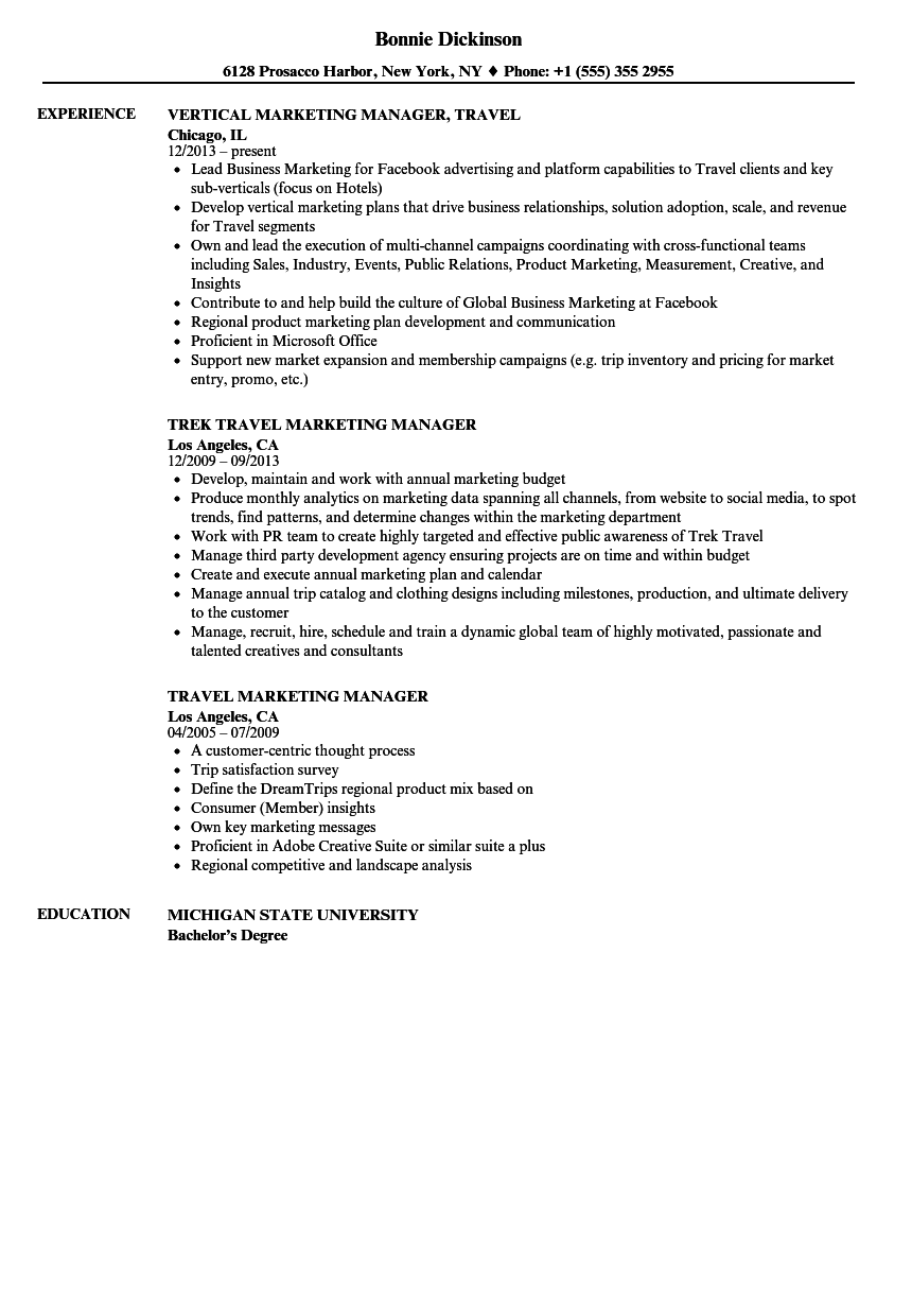 Travel Marketing Manager Resume Samples | Velvet Jobs