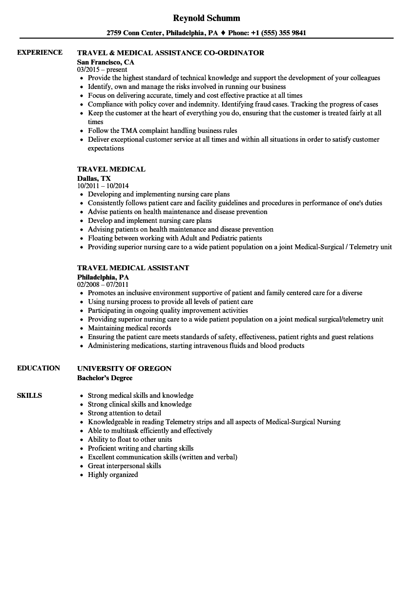 download travel medical resume sample as image file - Medical Resume Samples