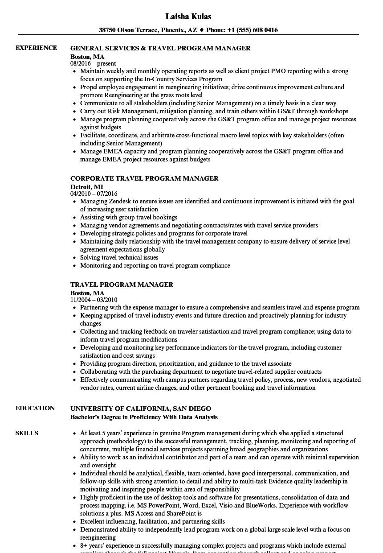 travel program manager resume samples