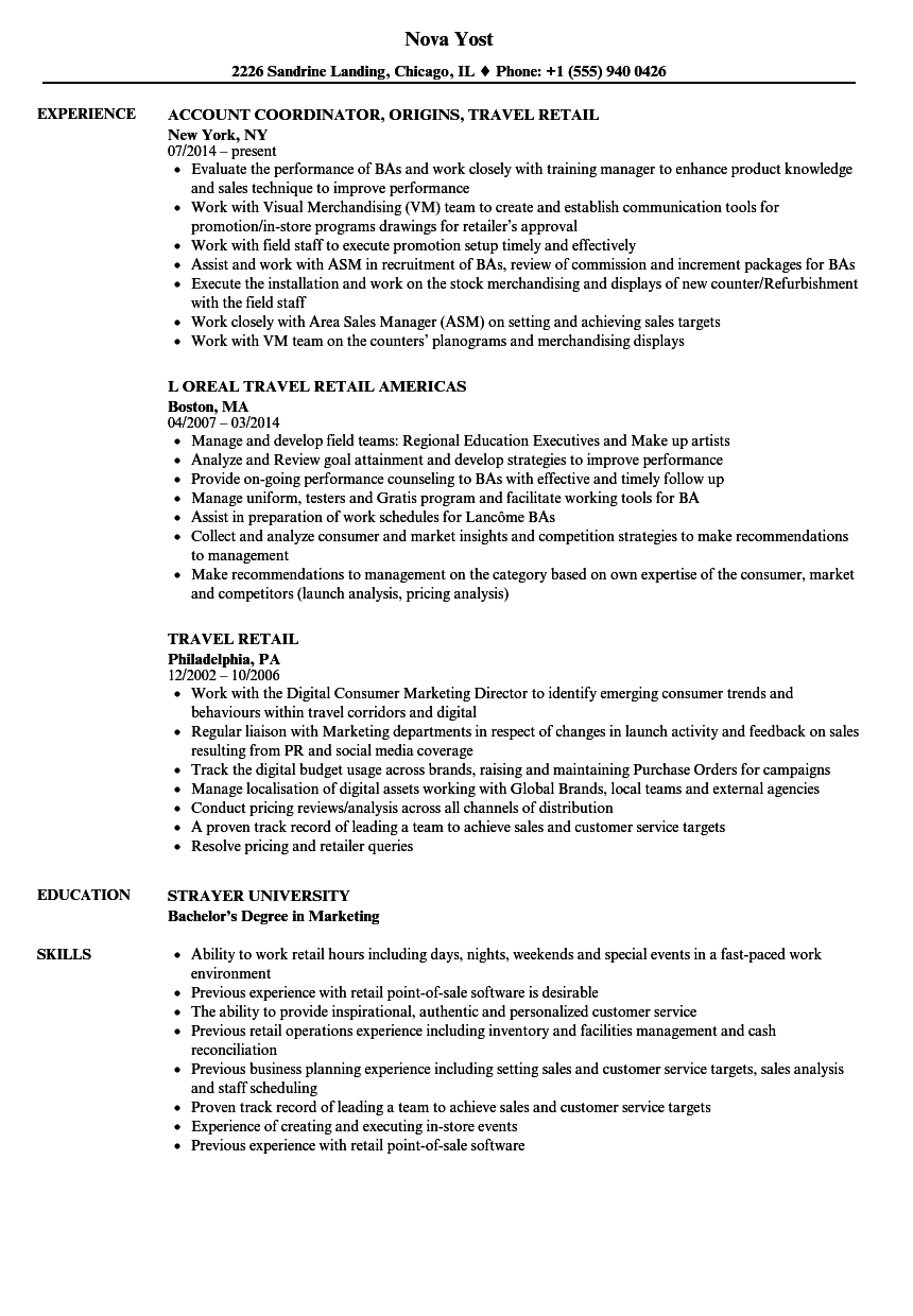 travel retail resume samples velvet jobs