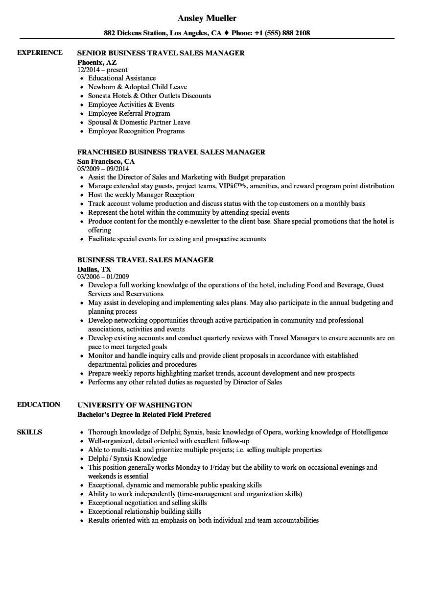 Travel Sales Manager Resume Samples | Velvet Jobs