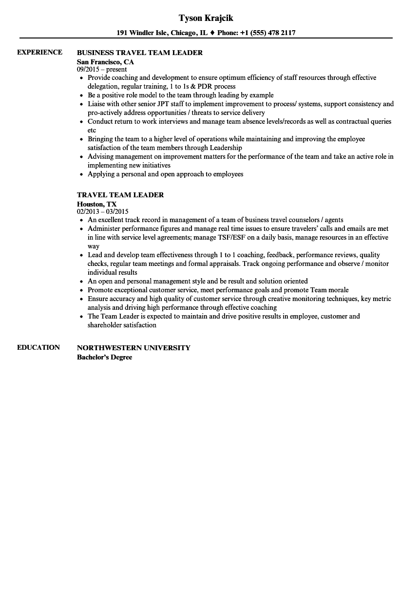 Travel Team Leader Resume Samples | Velvet Jobs